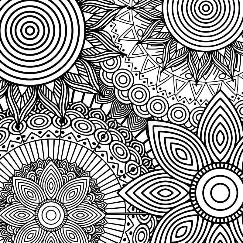 Den stam- etniska blom- mandalaen skissar modellen för att färga sidan vektor illustrationer