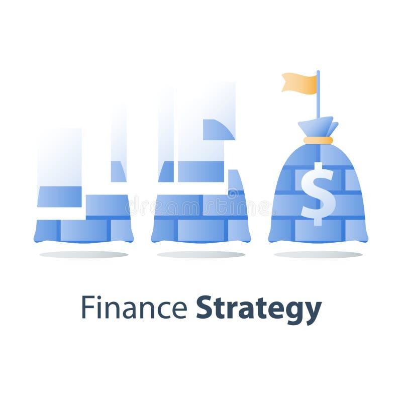 Den starka finansiella strukturen, finansbef?stning, investerar strategi, tillg?ngtilldelningen, att lyfta f?r fond, l?ngsiktig i stock illustrationer