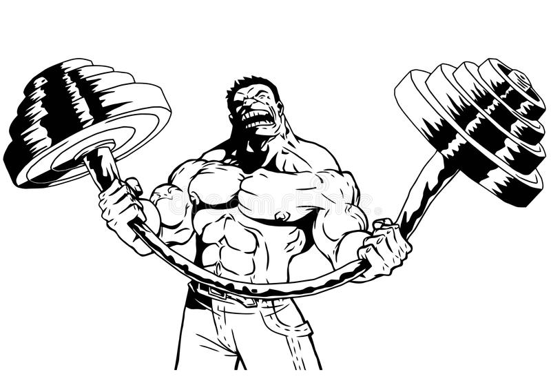 Den starka kroppsbyggaren böjer den tunga skivstången royaltyfri illustrationer