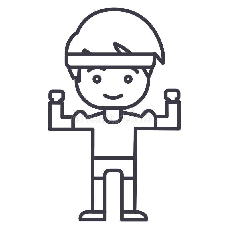 Den starka pojken, händer upp vektor fodrar symbolen, tecknet, illustration på bakgrund, redigerbara slaglängder vektor illustrationer