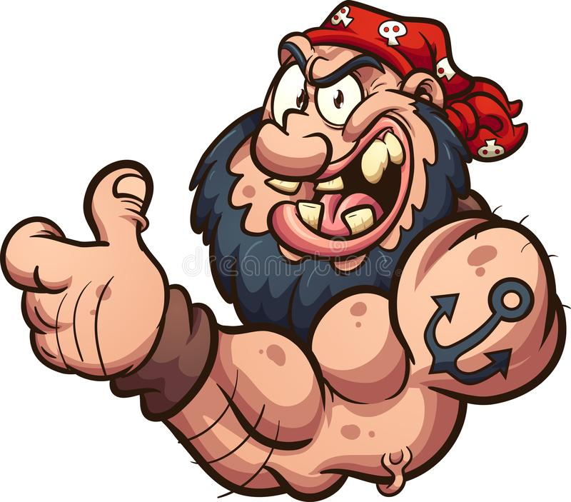 Den starka tecknade filmen piratkopierar eller cyklisten som ger upp tummarna royaltyfri illustrationer