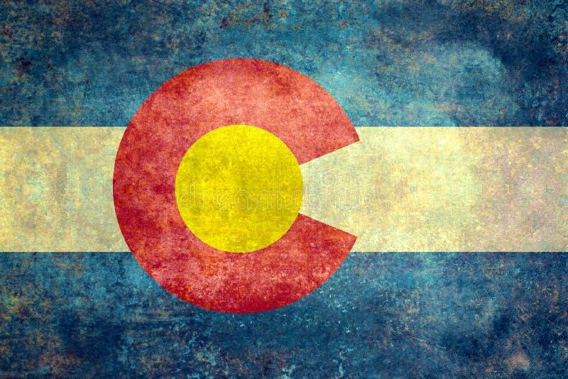 Den statliga flaggan av Colorado, tappning bedrövade version stock illustrationer