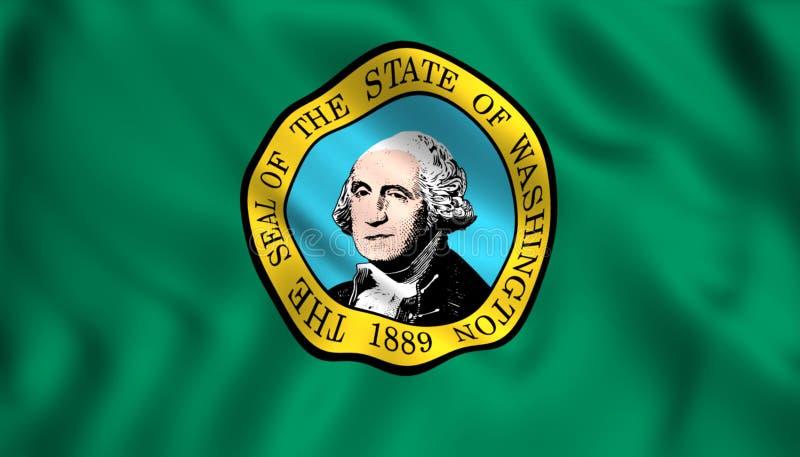 Den statliga flaggan av Washington stock illustrationer