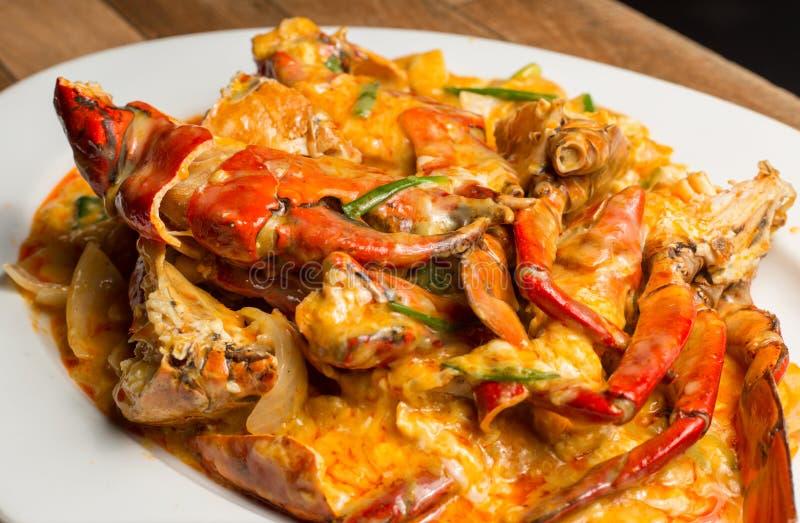 Den stekte under omrörning havskrabban med currysås, mjölkar och ägg En populär Thailändsk-kines skaldjur arkivfoto