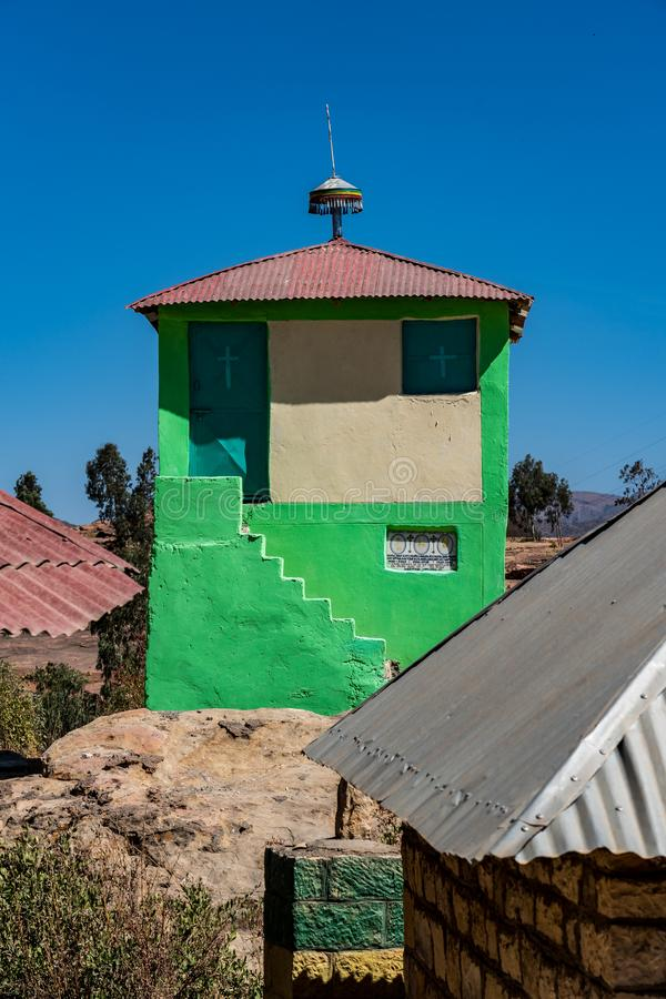 Den steniga kyrkan av Wukro Cherkos i Etiopien arkivfoto
