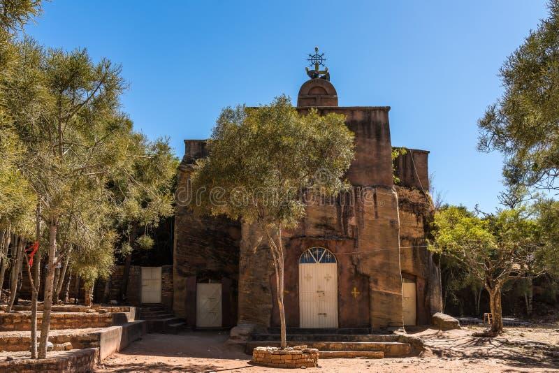 Den steniga kyrkan av Wukro Cherkos i Etiopien royaltyfri foto
