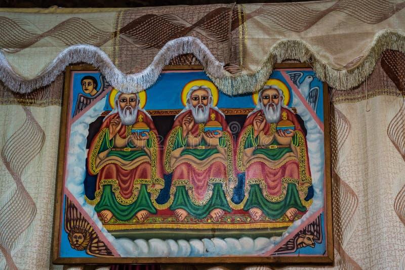 Den steniga kyrkan av Wukro Cherkos i Etiopien arkivfoton