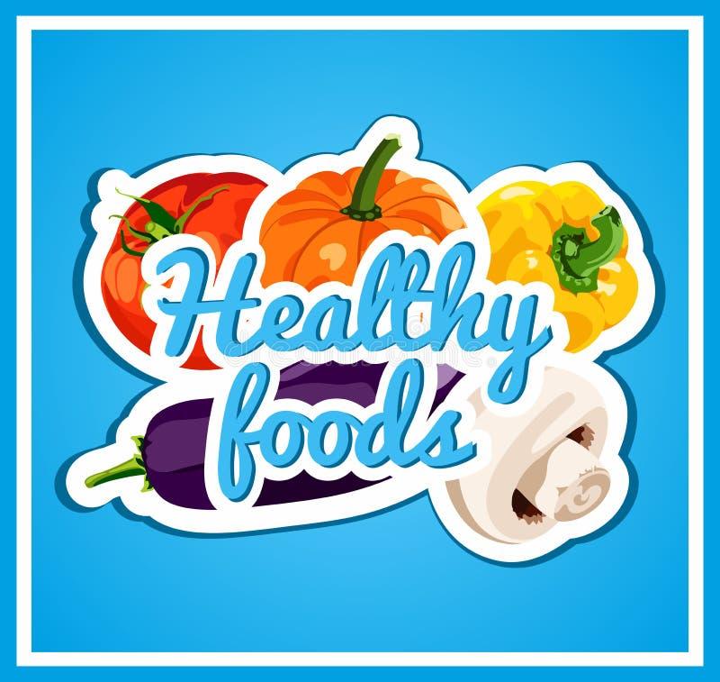 Den stilfulla affischen med en uppsättning av vektorgrönsaker sunda matar Ny och sund mat banta brigham vektor illustrationer