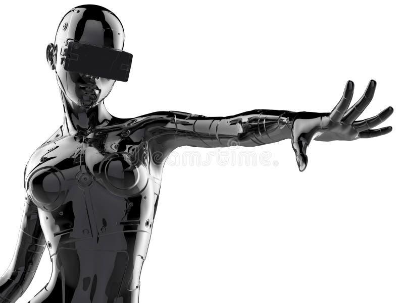 Den stilfulla chromeplated cyborgen kvinnan illustration 3d royaltyfri illustrationer