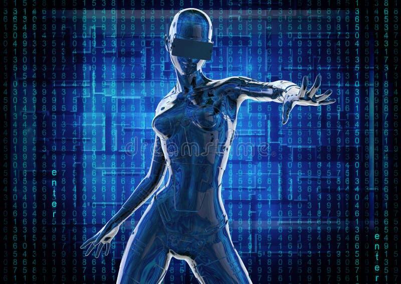 Den stilfulla chromeplated cyborgen kvinnan illustration 3d vektor illustrationer