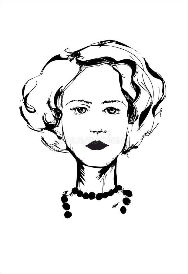 Den stilfulla flickan med bra frisyr guppar och halsbandet på den vita bakgrunden stock illustrationer