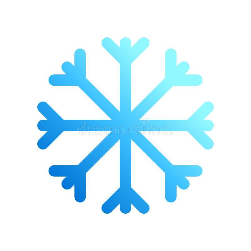 Den stilfulla grafiska blåa plana vektorsnöflingasymbolen isolerade stock illustrationer