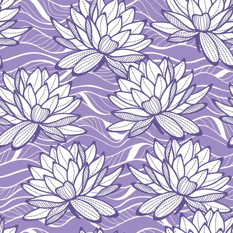 Den stilfulla näckrons blommar den sömlösa prydnaden royaltyfri illustrationer