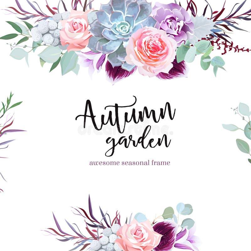 Den stilfulla plommonet färgade och det rosa kortet för blommavektordesignen royaltyfri illustrationer