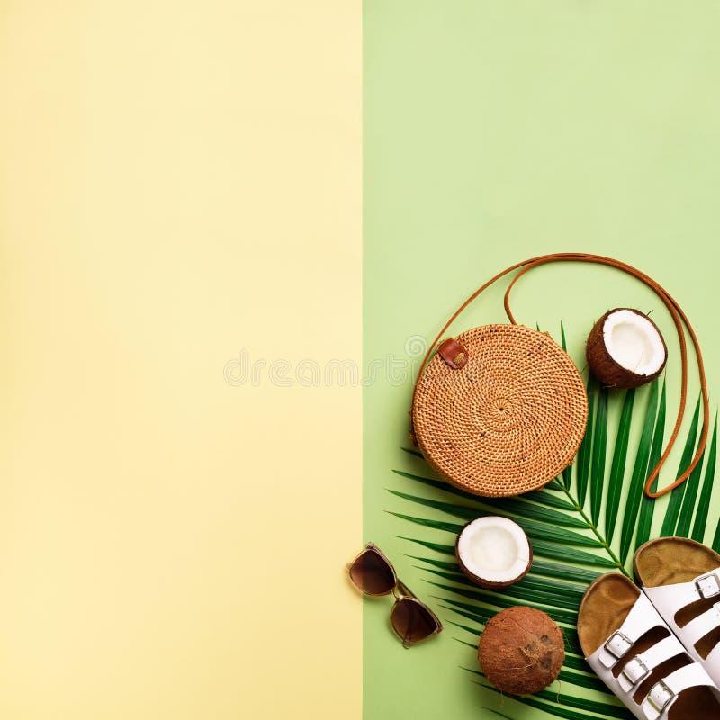 Den stilfulla rottingpåsen, kokosnöten, birkenstocks, gömma i handflatan filialer, solglasögon på bakgrund för olivgrön gräsplan  arkivbild