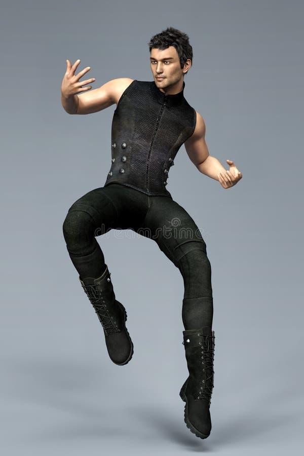 Den stiliga CGI-mannen som hoppar eller hoppar in i luften i en stads- fantasistil, poserar stock illustrationer