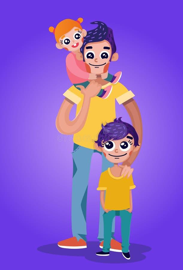 Den stiliga fadern bär behandla som ett barn flickan på skuldror och ställningar med sonen royaltyfri bild