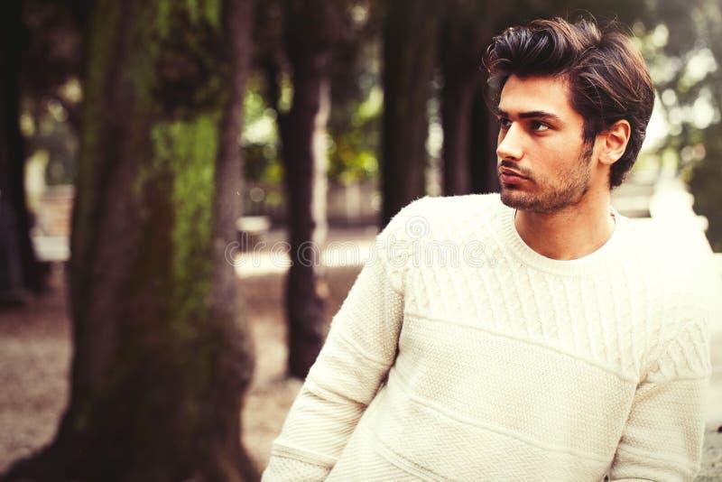 Den stiliga fridfulla och eftertänksamma modellen för den unga mannen i träd parkerar arkivbilder