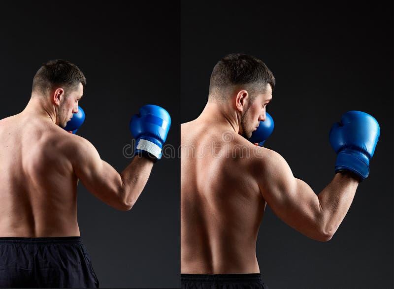 Den stiliga manboxaren retuscherar före och efter Sportmanbaksida Muskulös man i boxninghandskar i bixing kugge på mörker royaltyfria bilder