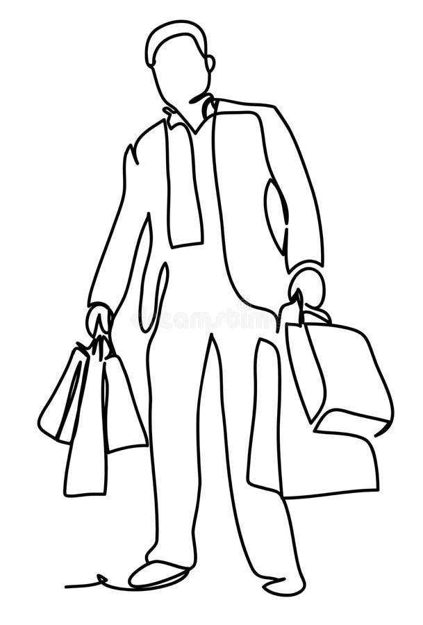 Den stiliga manen passar in med shopping hänger lös Fortlöpande linje teckning stock illustrationer