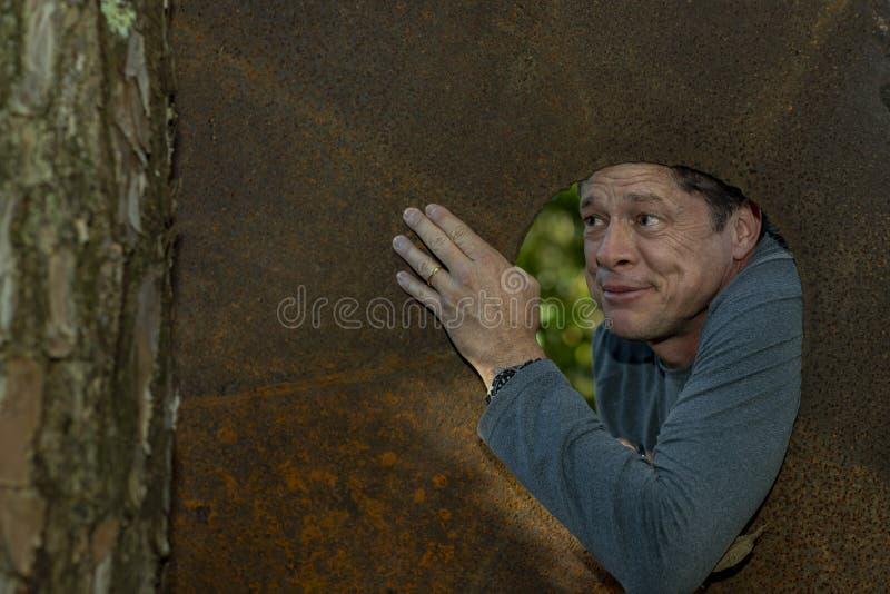 Den stiliga mogna mannen i järnplattahålet som bort ser, grinar, lyckligt, nöjt, naturbakgrund med en kopia av utrymmet arkivbilder