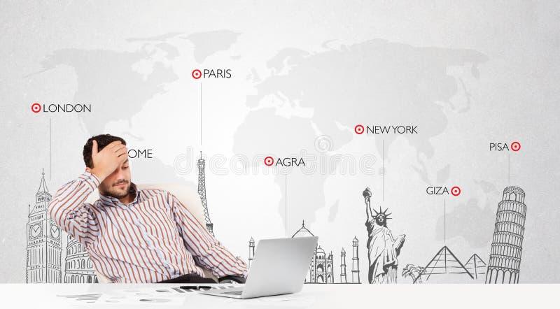Affärsmannen med världen kartlägger och ha som huvudämne landmarks av världen fotografering för bildbyråer