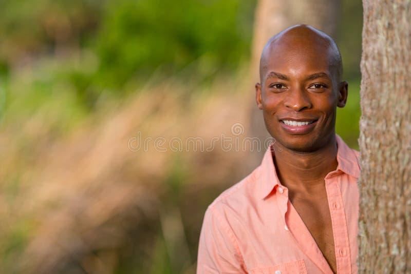 Den stiliga unga afrikansk amerikanmannen som poserar vid trädet i, parkerar Man som bär en rosa knappskjorta och ler på kameran arkivfoto