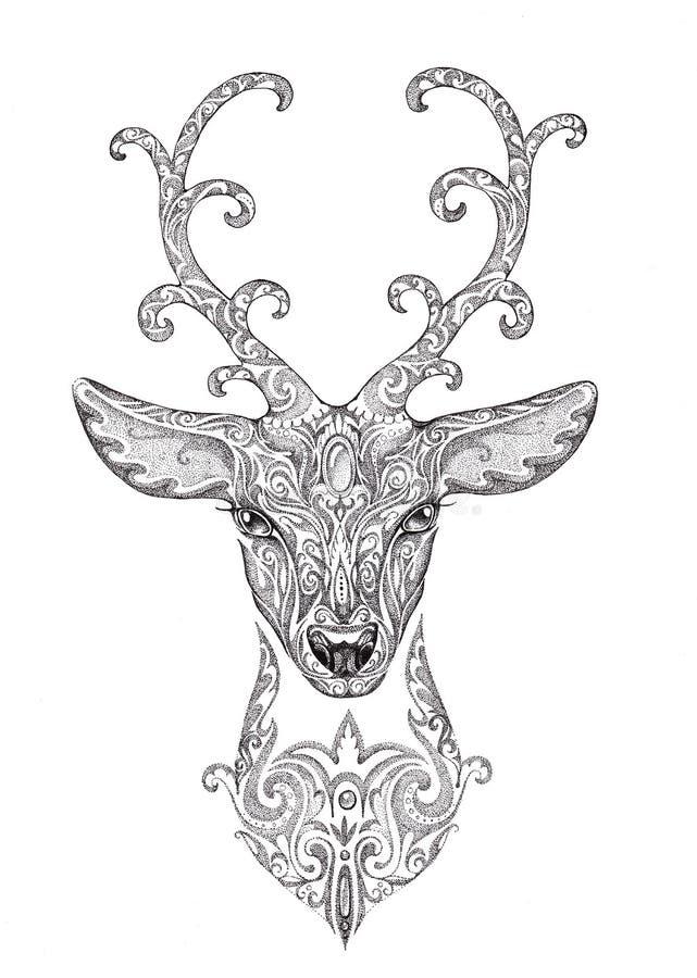 Den stiliserade bilden, tatuering av en härlig skoghjort head med hornet royaltyfri illustrationer