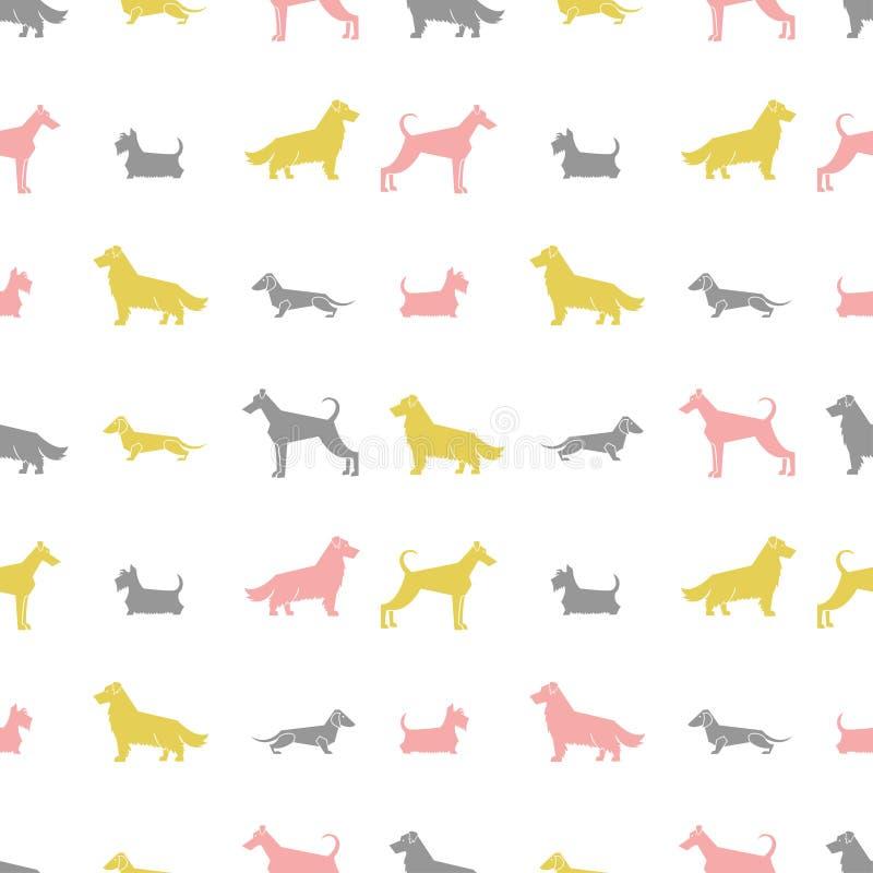 Den stiliserade hunden föder upp den sömlösa modellen för konturer royaltyfri illustrationer