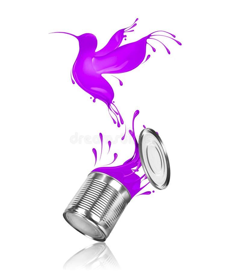 Den stiliserade kolibrin flyger ut ur en can med målarfärg vektor illustrationer