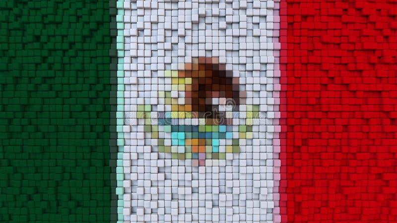Den stiliserade mosaikflaggan av Mexico gjorde av PIXEL, tolkningen 3D royaltyfri illustrationer