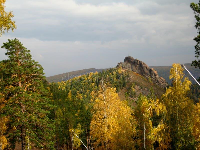 Den Stolby naturreserven Krasnoyarsk arkivfoto