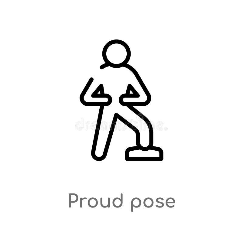 den stolta översikten poserar vektorsymbolen isolerad svart enkel linje beståndsdelillustration från människabegrepp redigerbar s royaltyfri illustrationer