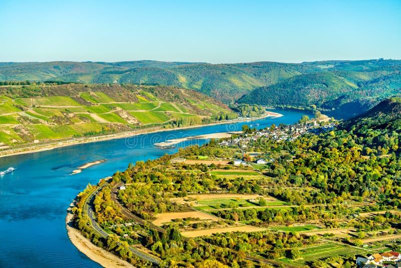 Den stora öglan av Rhen på Boppard i Tyskland royaltyfri fotografi