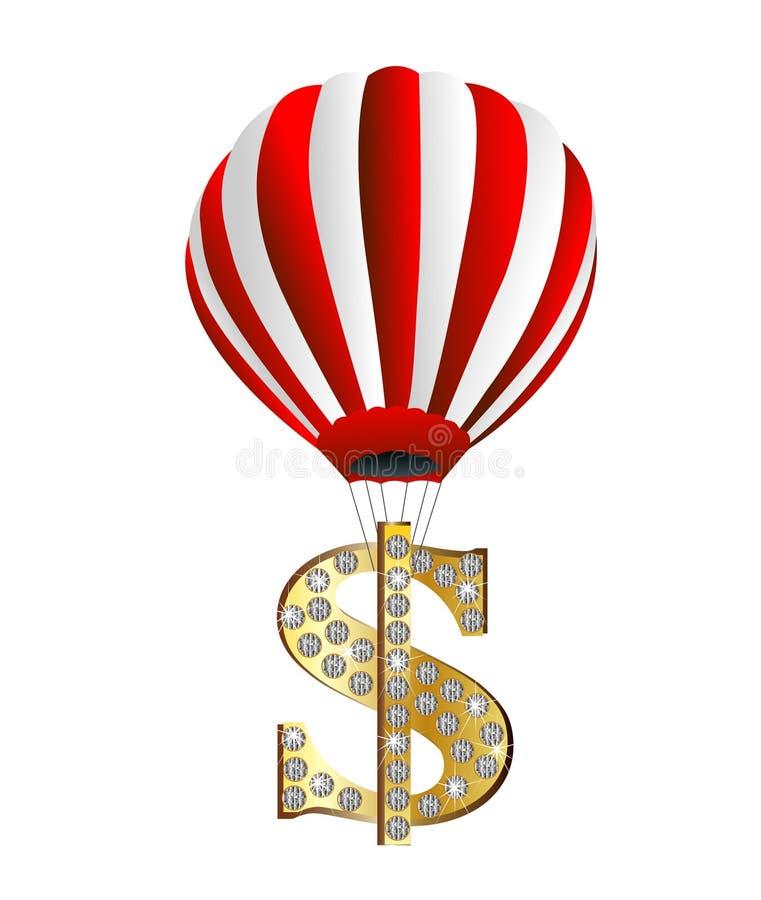 Den stora ballongen lyfter symbolet av dollaren uppåt royaltyfri illustrationer