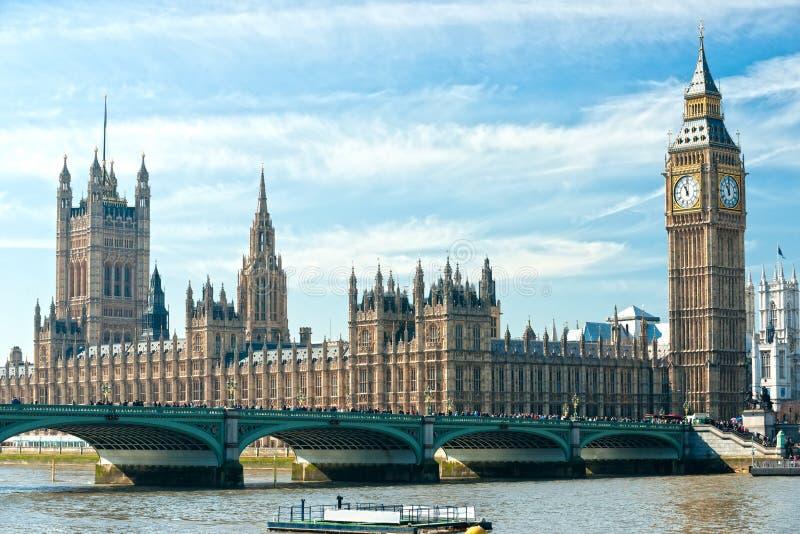 Den stora Benen och huset av parlamentet, london. royaltyfri fotografi