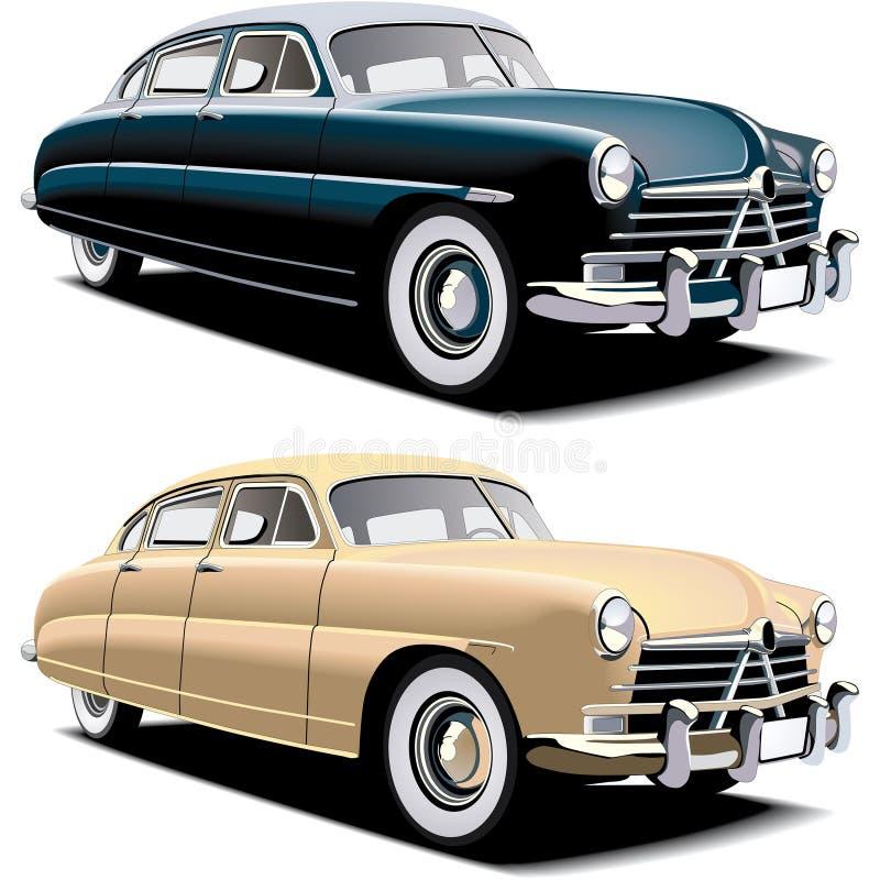 den stora bilen danade gammalt stock illustrationer