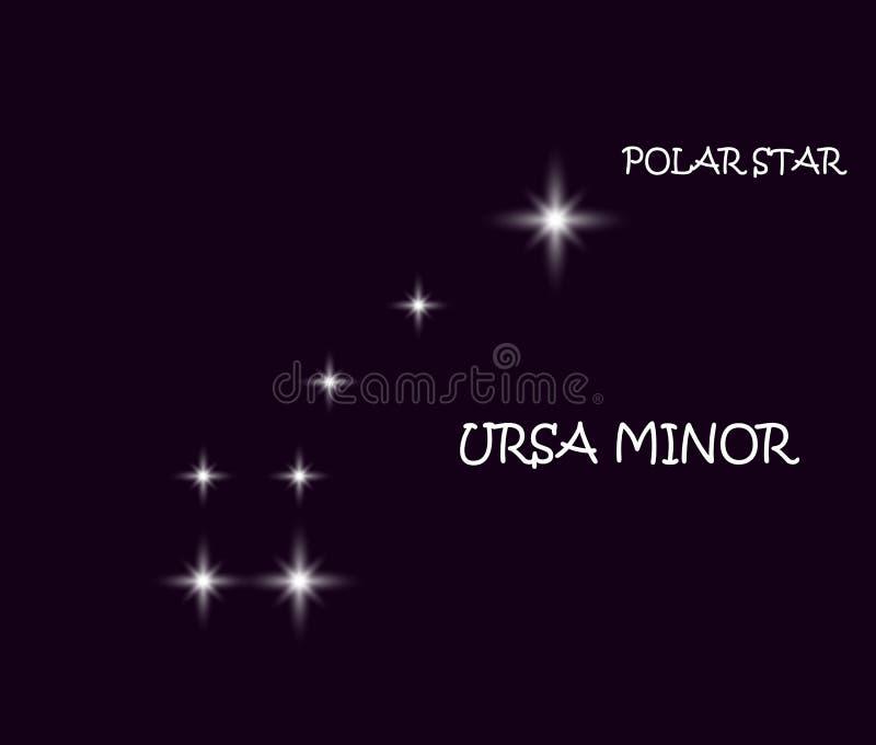 Den stora björnen med linjer konstellation Stjärnabakgrund med Karlavagnenkonstellation Illustration av Ursa Major stock illustrationer