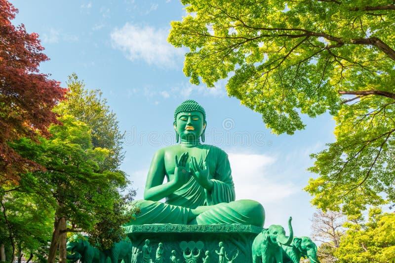 Den stora Buddha av Nagoya med det stillsamma stället i skog arkivfoto