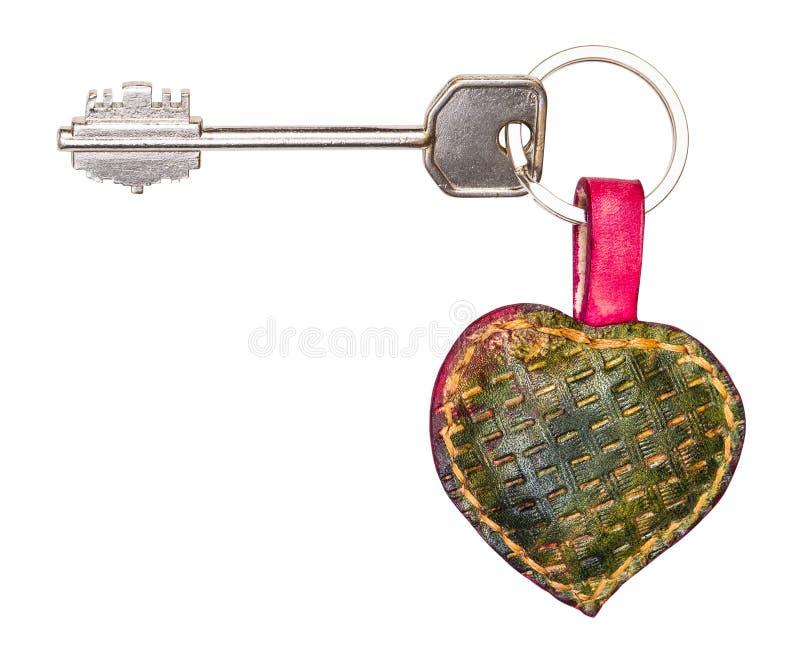 Den stora dörrtangenten på grön hjärta formade den nyckel- cirkeln arkivbild