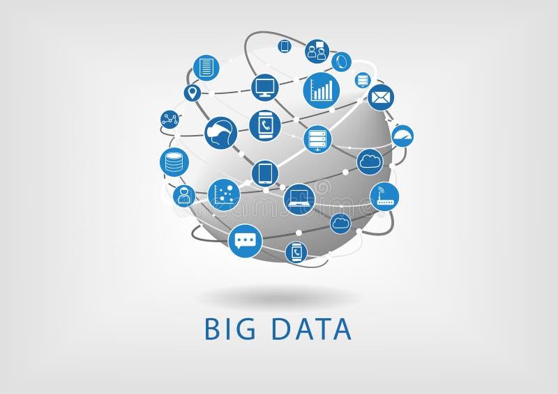 Den stora data- och jordklotlägenheten planlägger illustrationvisninguppkopplingsmöjlighet mellan olik apparater och information stock illustrationer