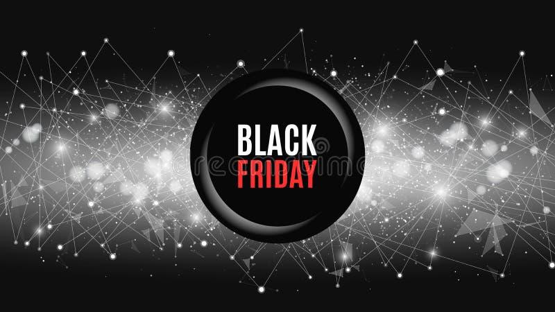 Den stora försäljningen är en svarta fredag Abstrakt futuristisk bakgrund med banret Anslutning av trianglar och prickar En glöda stock illustrationer