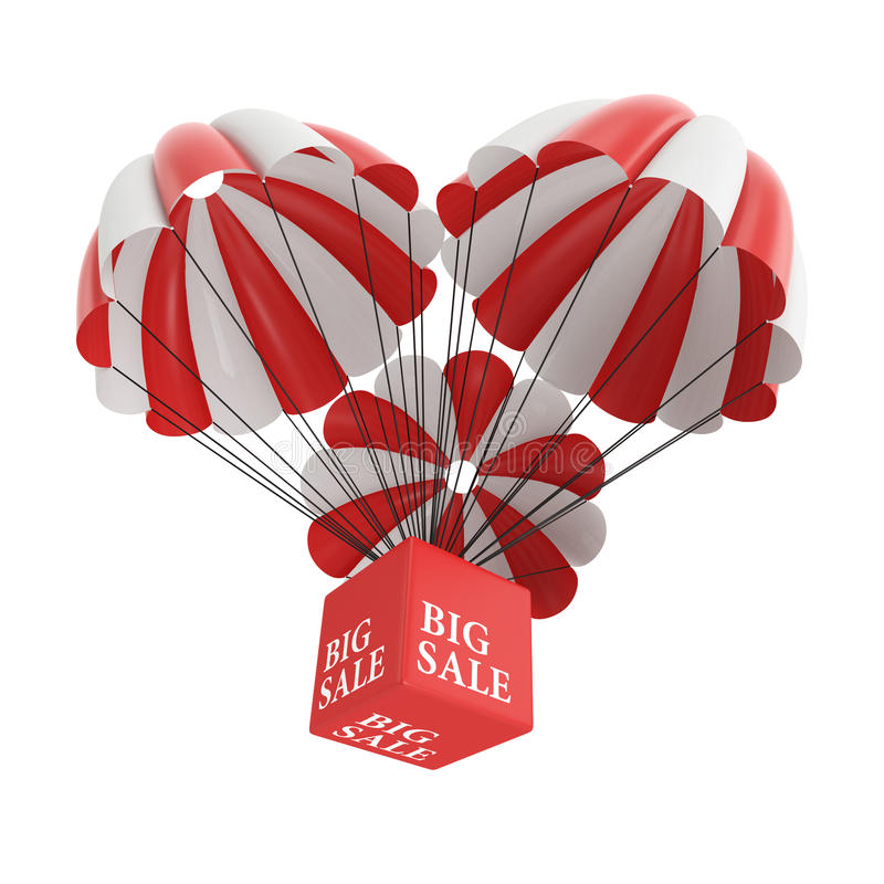 Den stora försäljningen hoppa fallskärm arkivfoto