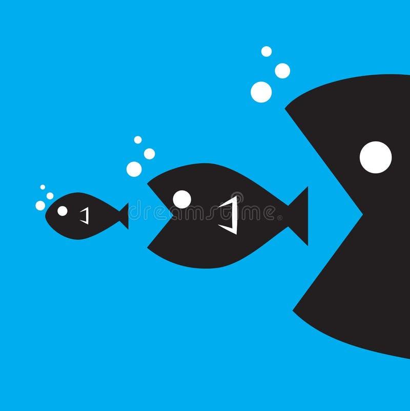 Den stora fisken äter den lilla fisken royaltyfri illustrationer
