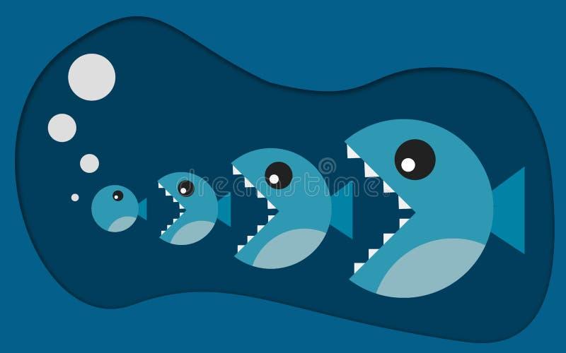 Den stora fisken äter den lilla fisken stock illustrationer
