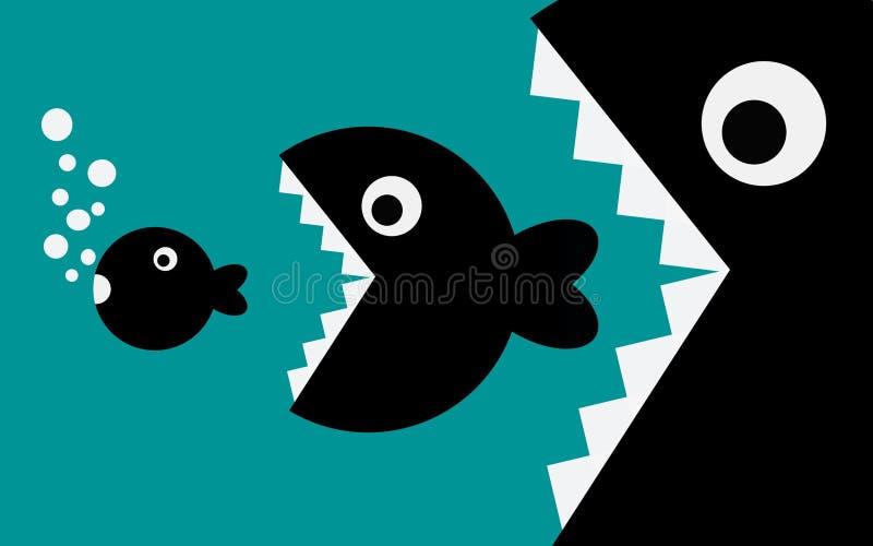 Den stora fisken ?ter den lilla fisken stock illustrationer