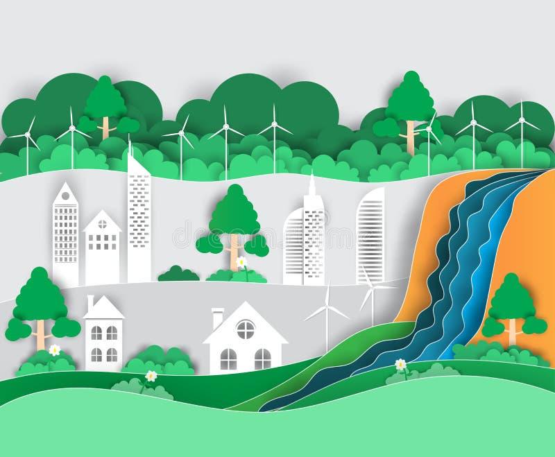 Den stora gröna staden som är i naturen, ekologibegreppet, pappers- konstdesign vektor illustrationer