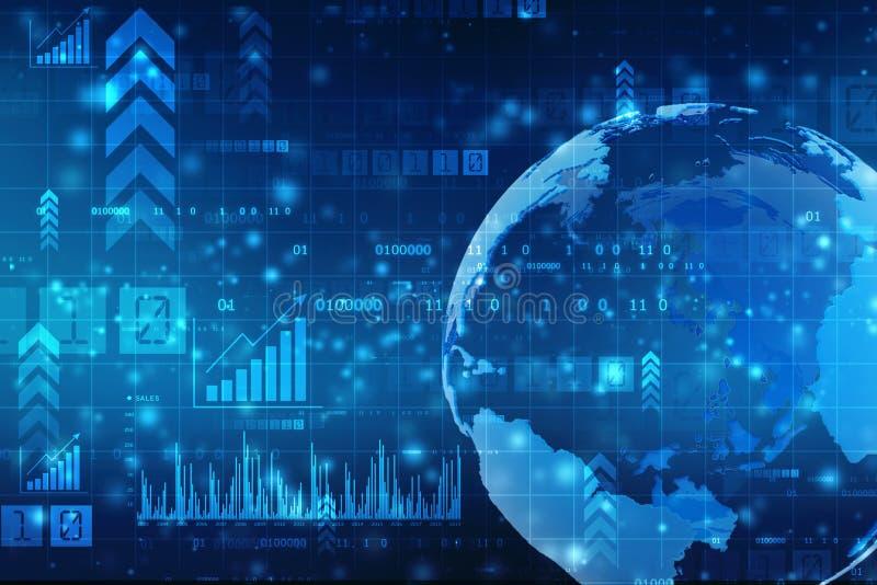 den stora grafmarknaden numrerar materielet Abstrakt finansbakgrund, bakgrund för global affär, aktiemarknadbakgrund stock illustrationer
