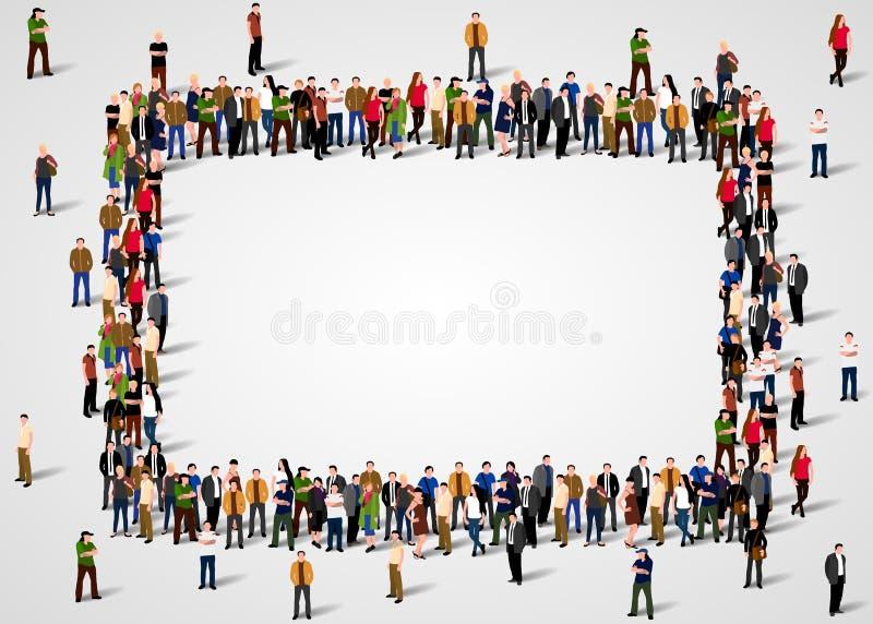 Den stora grupp människor trängde ihop i fyrkantig ram på vit bakgrund stock illustrationer