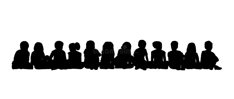 Den stora gruppen av barn placerade kontur 3 royaltyfri foto